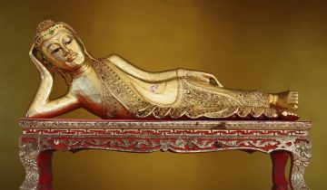 The reclining Buddha in Myanmar Style.