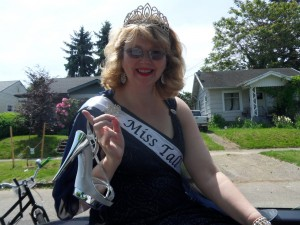 Miss Tall Portland easily tops six feet when she dons her silver spiked heel shoes.