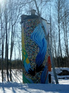 This beautiful silo covered with art tiles is a tribute to Cy's late mother.