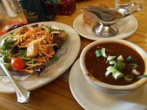 Vegan black bean chili at the Inn at Cedar Crossing in downtown Sturgeon Bay.