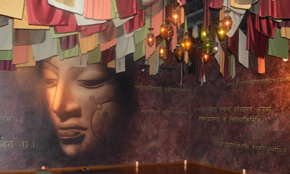 Luckily, I got to a candlelight vinyasa class at Samadhi Yoga. I love their over-the-top ceiling treatment and giant Buddha head. They have a ton of daily classes.