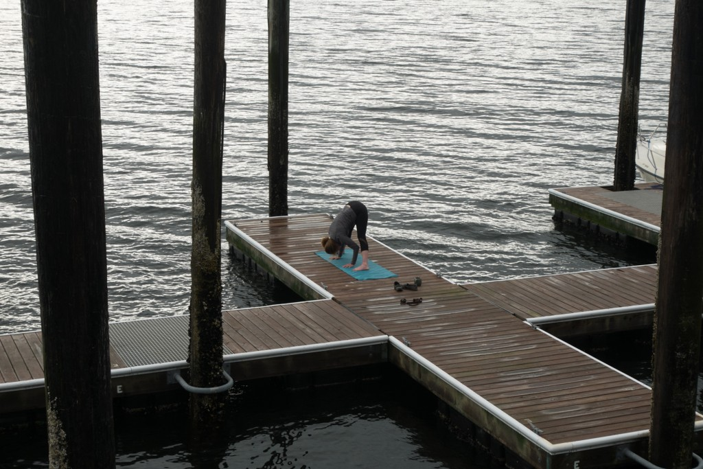 yoga on the dock at the Glen Ayr