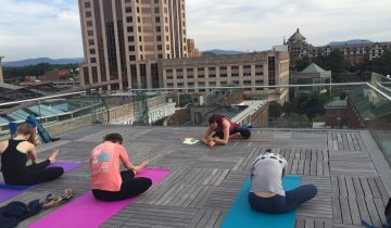 yoga on roof of Roanoke Center in the Square with Bonny Branch